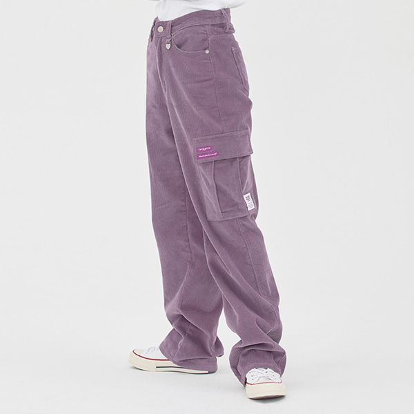 CORDUROY WIDE CARGO PANTS_LIGHT PURPLE