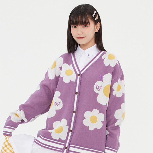 DAISY JACQUARD CARDIGAN_PURPLE