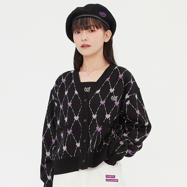 HEART ARGYLE JACQUARD CARDIGAN_BLACK