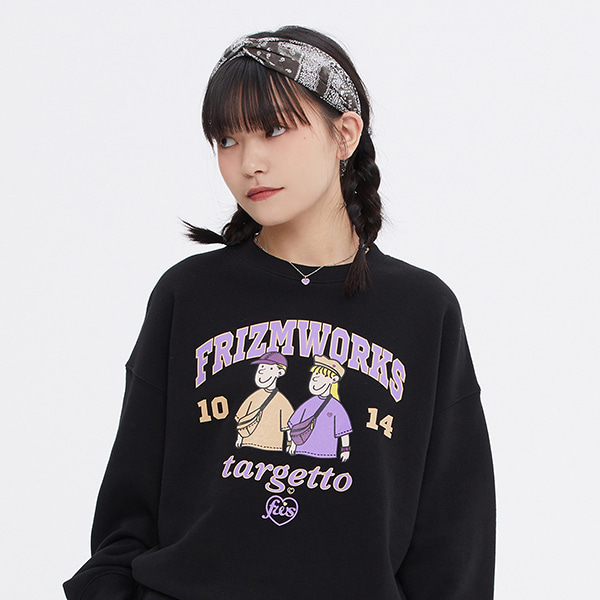 [FRIZMWORKS X TGT]COUPLE GRAPHIC SWEAT SHIRT_BLACK