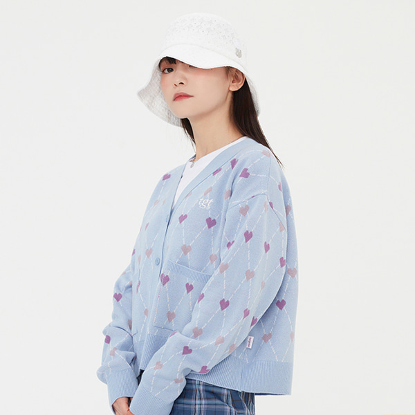 HEART ARGYLE JACQUARD CARDIGAN_LIGHT BLUE