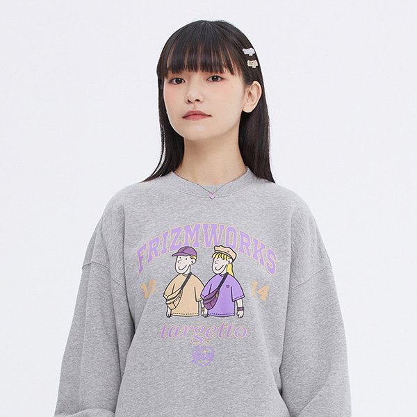 [FRIZMWORKS X TGT]COUPLE GRAPHIC SWEAT SHIRT_MELANGE GREY
