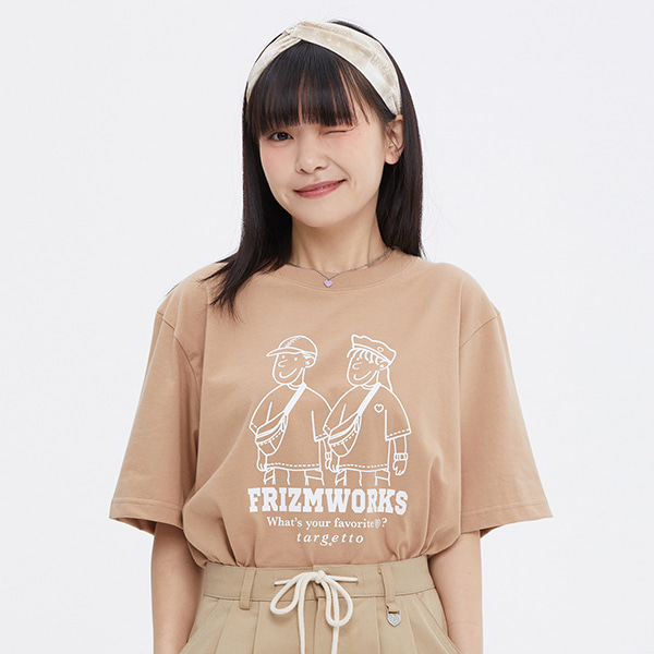 [FRIZMWORKS X TGT]COUPLE GRAPHIC TEE SHIRT_BEIGE