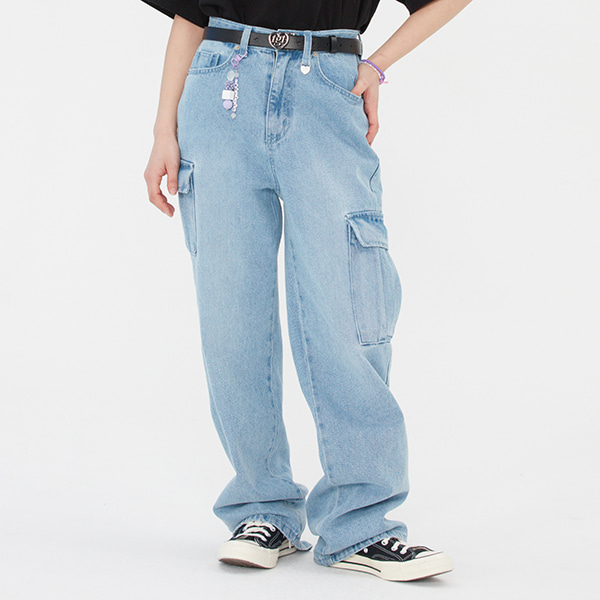 WIDE DENIM CARGO PANTS_LIGHT BLUE