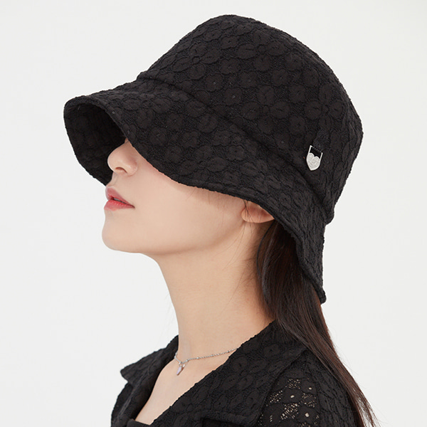 LACE HEART RING BUCKET HAT_BLACK