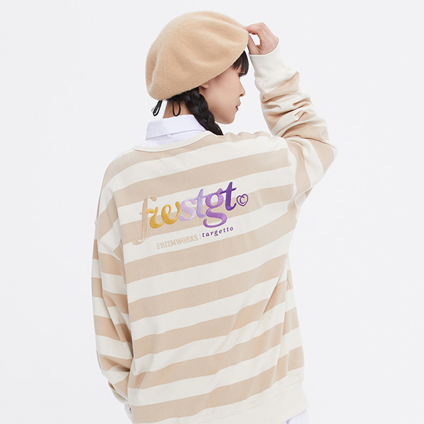 [FRIZMWORKS X TGT]STRIPE HENLY NECK SWEAT SHIRT_BEIGE