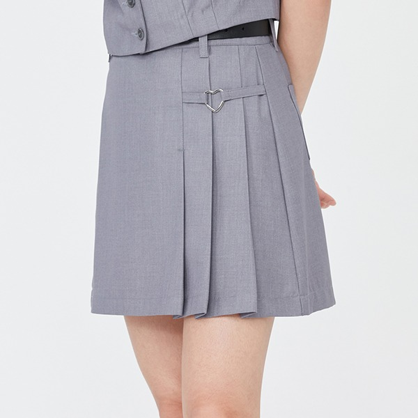 HEART RING PLEATS MINI SKIRT_GREY