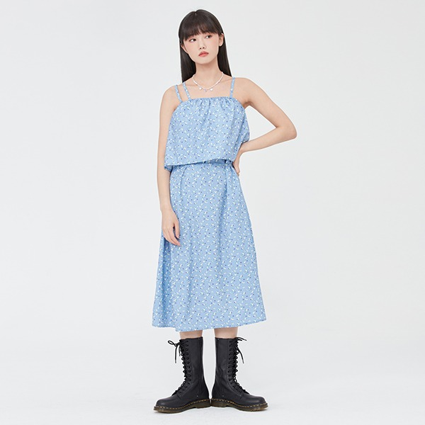 FLOWER PATTERN LAYERED ONEPIECE_LIGHT BLUE