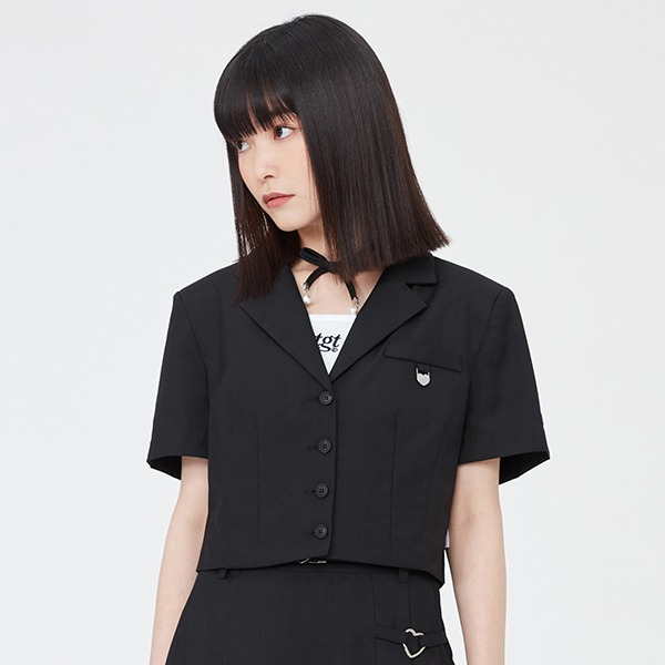 TGT HALF SLEEVED BLAZER_BLACK