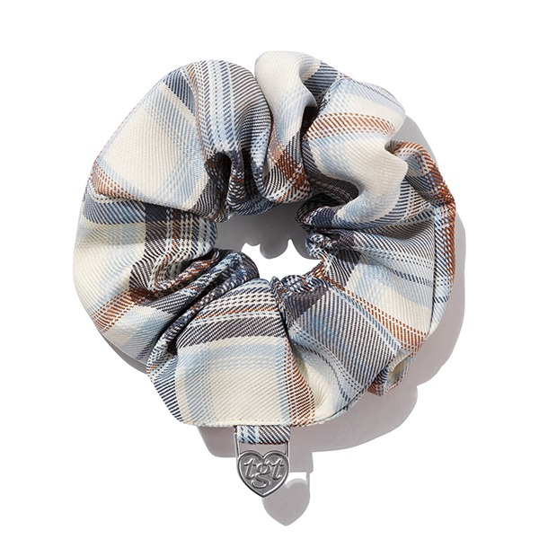 CHECK SCRUNCHIES_LIGHT BLUE