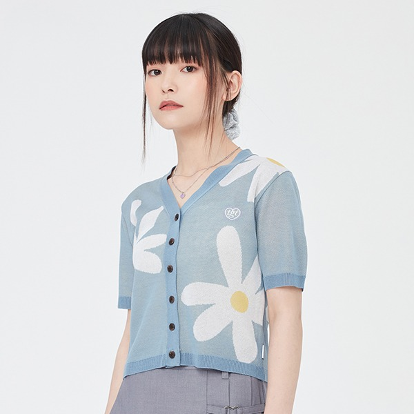 DAISY JACQUARD CROP CARDIGAN_LIGHT BLUE