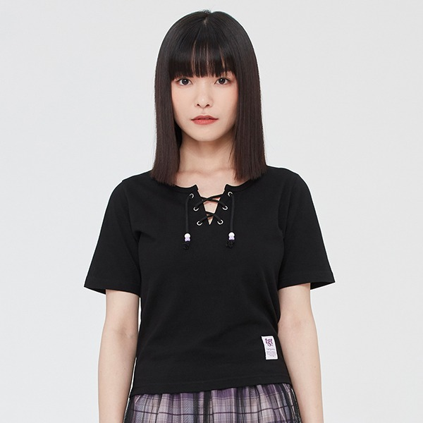 EYELET CROP TEE SHIRT_BLACK