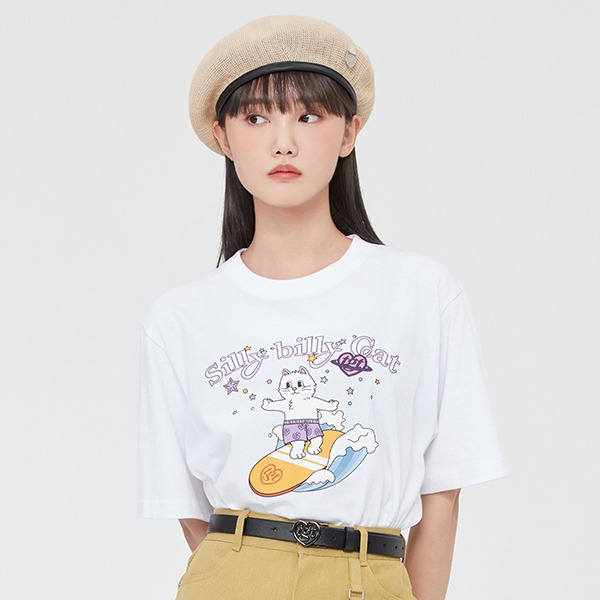 SURFING CAT TEE SHIRT_WHITE