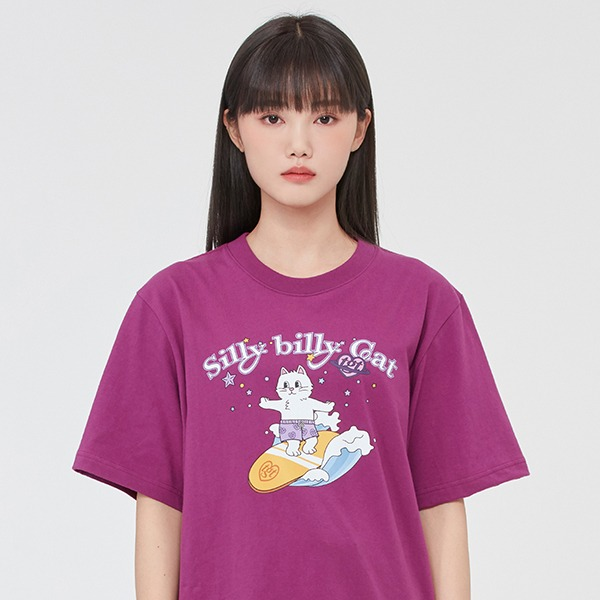 SURFING CAT TEE SHIRT_PURPLE
