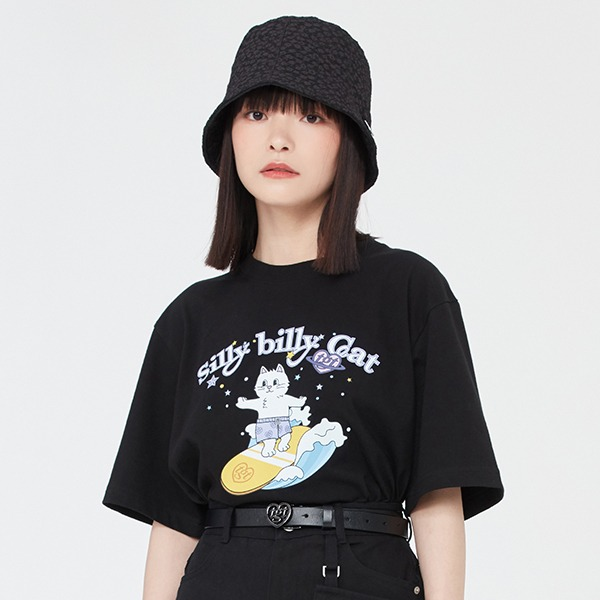 SURFING CAT TEE SHIRT_BLACK