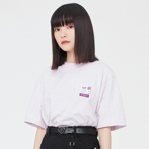 LABEL LOGO TEE SHIRT_MELANGE LIGHT PURPLE