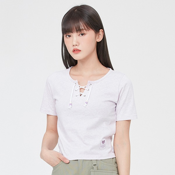 EYELET CROP TEE SHIRT_MELANGE LIGHT PURPLE